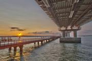 Опубликовано видео ночной подсветки Крымского моста