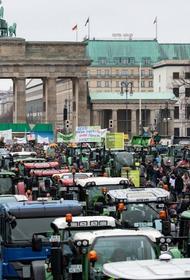 Немецкие фермеры устроили акцию протеста во время сельскохозяйственной ярмарки