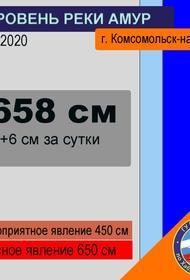 МЧС: у г. Комсомольск-на-Амуре уровень воды в реке Амур достиг опасной отметки