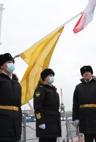На корвете «Гремящий», построенном на Северной верфи, поднят Андреевский флаг