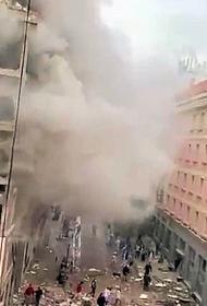В центре Мадрида прогремел мощный взрыв. Одно из зданий почти полностью разрушено, возможно есть жертвы и раненые