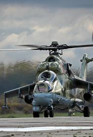 Появилось видео с российским Ми-24, выслеживающим боевиков ИГ в центральной Сирии