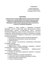 Путин утвердил 20 критериев эффективности работы губернаторов и глав регионов