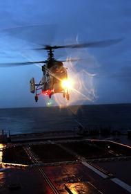 Боевые вертолеты Северного флота провели полеты в жестких условиях полярной ночи