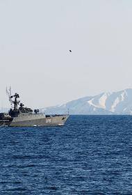 Боевые корабли ТОФ РФ проводят артиллерийские стрельбы в Японском море