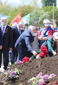 В станице Динской прошла церемония перезахоронения останков советских солдат