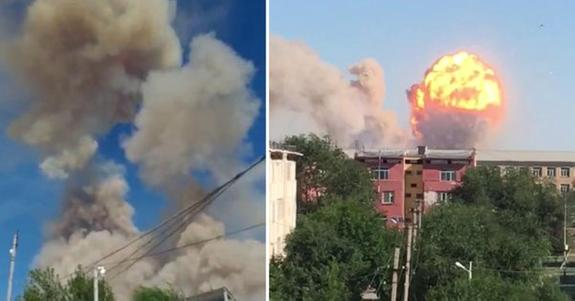 Город  Арысь в Казахстане полностью эвакуируют из-за взрывов и пожара на складе с боеприпасами