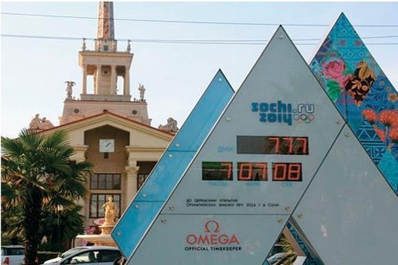 В Сочи часы, показывающие оставшиеся дни до Олимпиады, стали отсчитывать доллары
