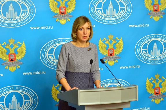 Захарова высказалась о демонстрации  в сенате США фото Путина и Симоньян