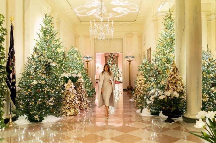 Первая леди США показала украшенный к Рождеству интерьер Белого дома на видео