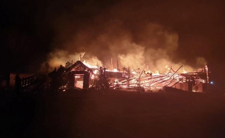 Под Козельском в Калужской области ночью  сгорел православный храм