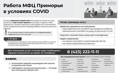 МФЦ Приморья в условиях COVID расширил перечень очных услуг