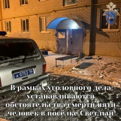 В поселке Светлый Оренбургской области в одной из квартир обнаружены мертвыми пятеро мужчин