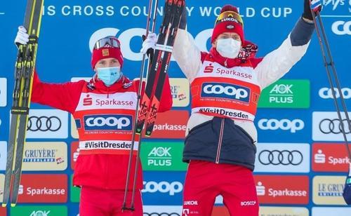 Александр Большунов и Глеб Ретивых стали третьими в командном спринте на ЧМ по лыжам в Оберстдорфе