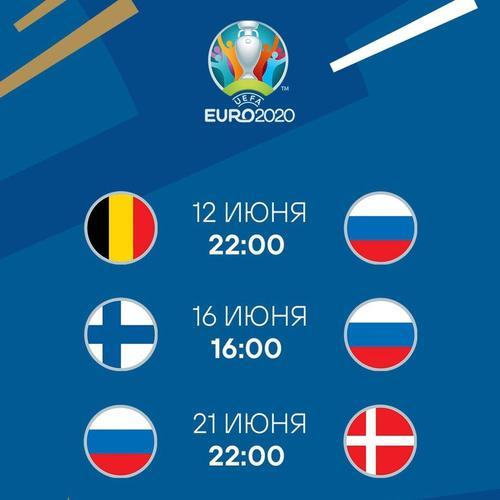 Стали известны стартовые составы сборных России и Бельгии на матч Евро-2020