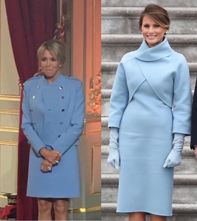 В Сети заметили похожесть нарядов жен Трампа и Макрона на инаугурации