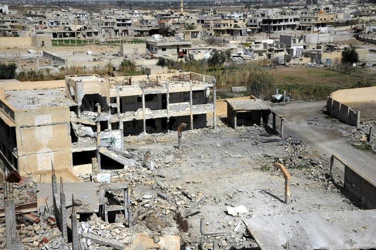 Уничтожаемый авиацией России анклав ИГ в Дамаске сняли на видео с воздуха