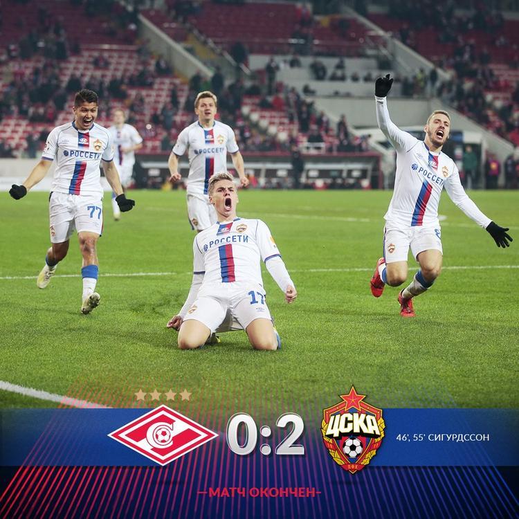 Заслуженная победа ЦСКА над «Спартаком» со счетом 2:0