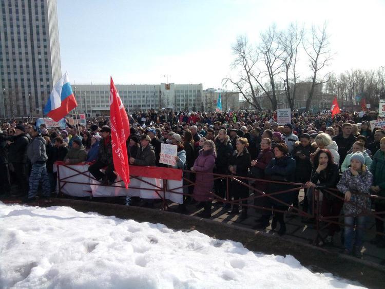 В Архангельске 10 тысячи человек вышли на несанкционированный митинг